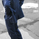 Navy Sharkskin Two Button Suit Side Back