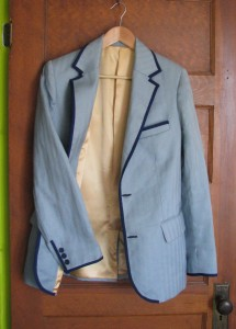 Blue Linen Herringbone Suit