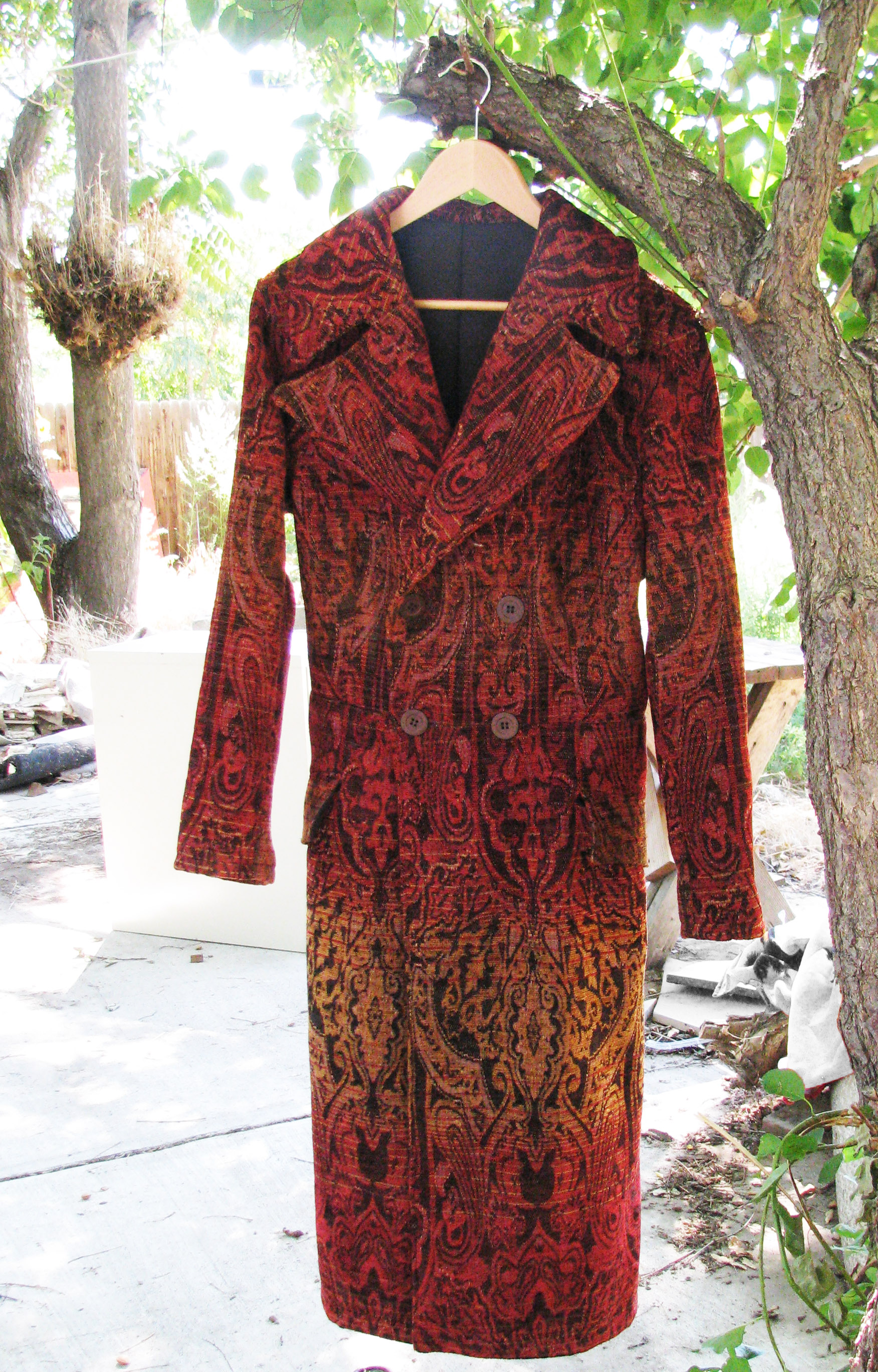 Custom brocade frock coat