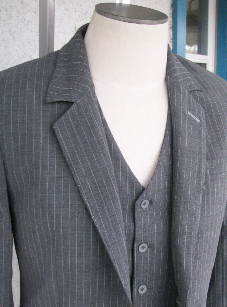 3pc Pinstripe Suit in Silver