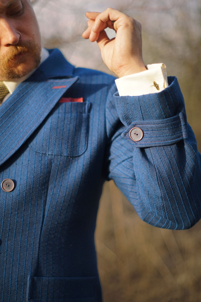 Tabbed Suit Cuff Denim Blue